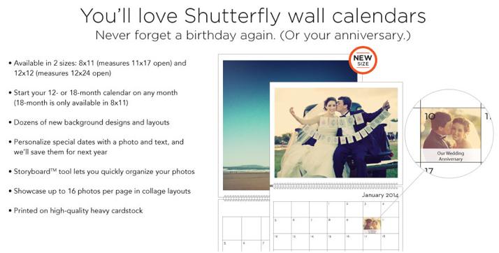 Shutterfly Calendars
