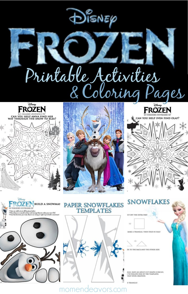 disney frozen printable activities & coloring pages