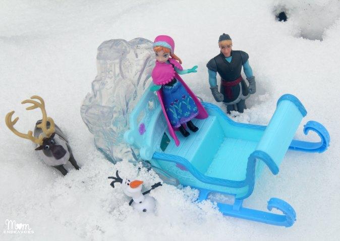 Disney Frozen toys in the snow
