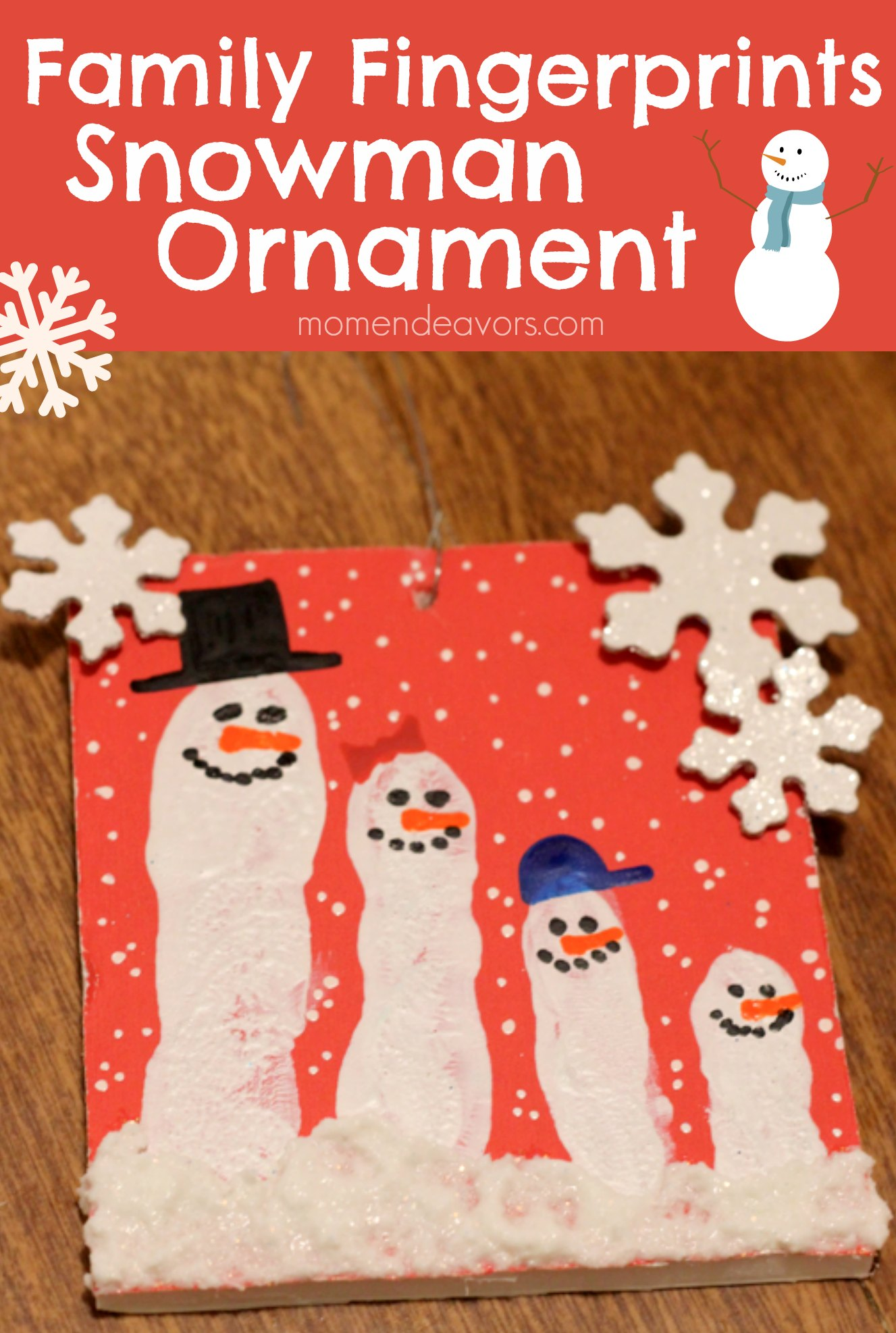 Family Fingerprints Snowman Ornaments