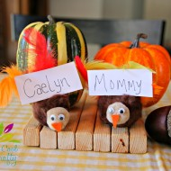 Thanksgiving Kids Craft: Turkey Place Card Holders {from Crazy & Cool with a side of Crafty}