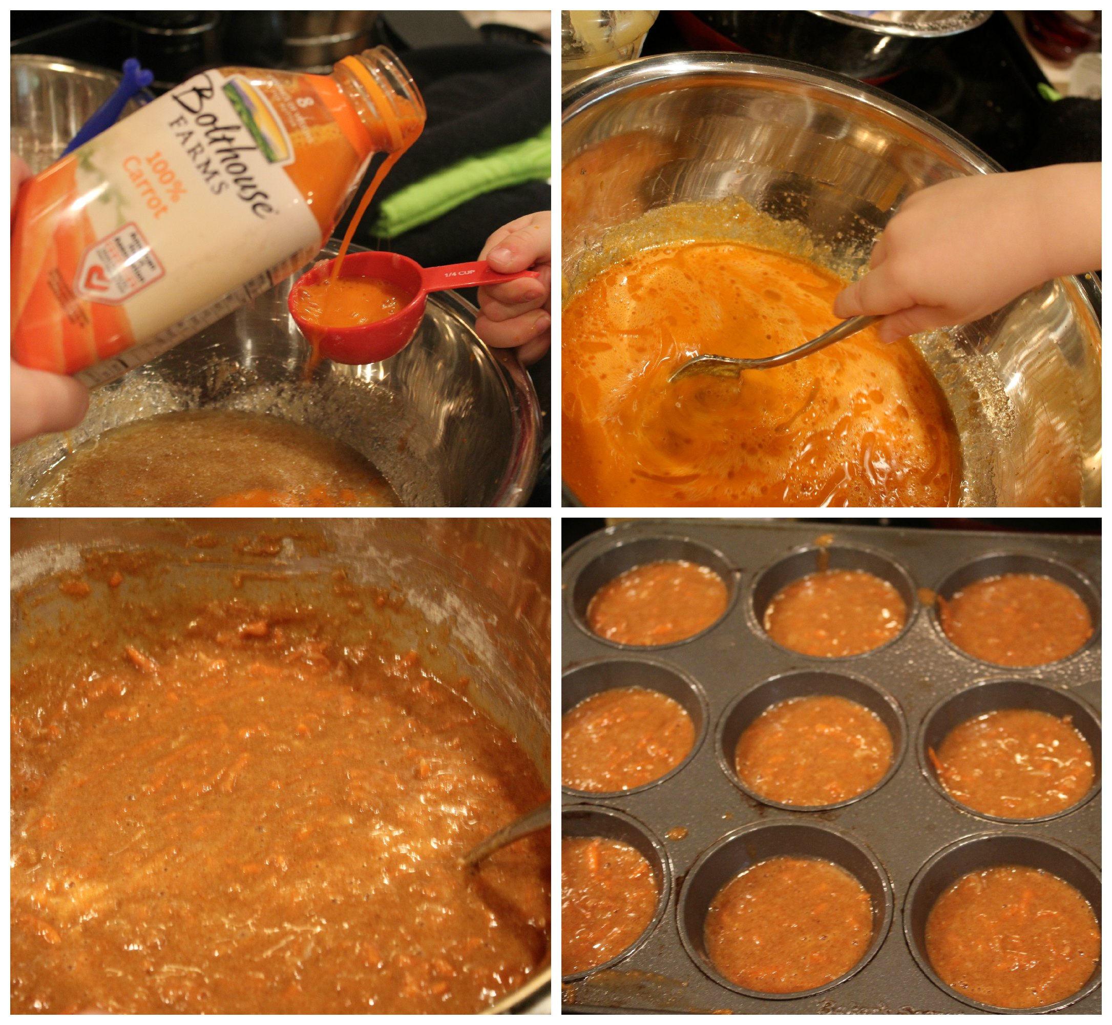 Making carrot cake muffins