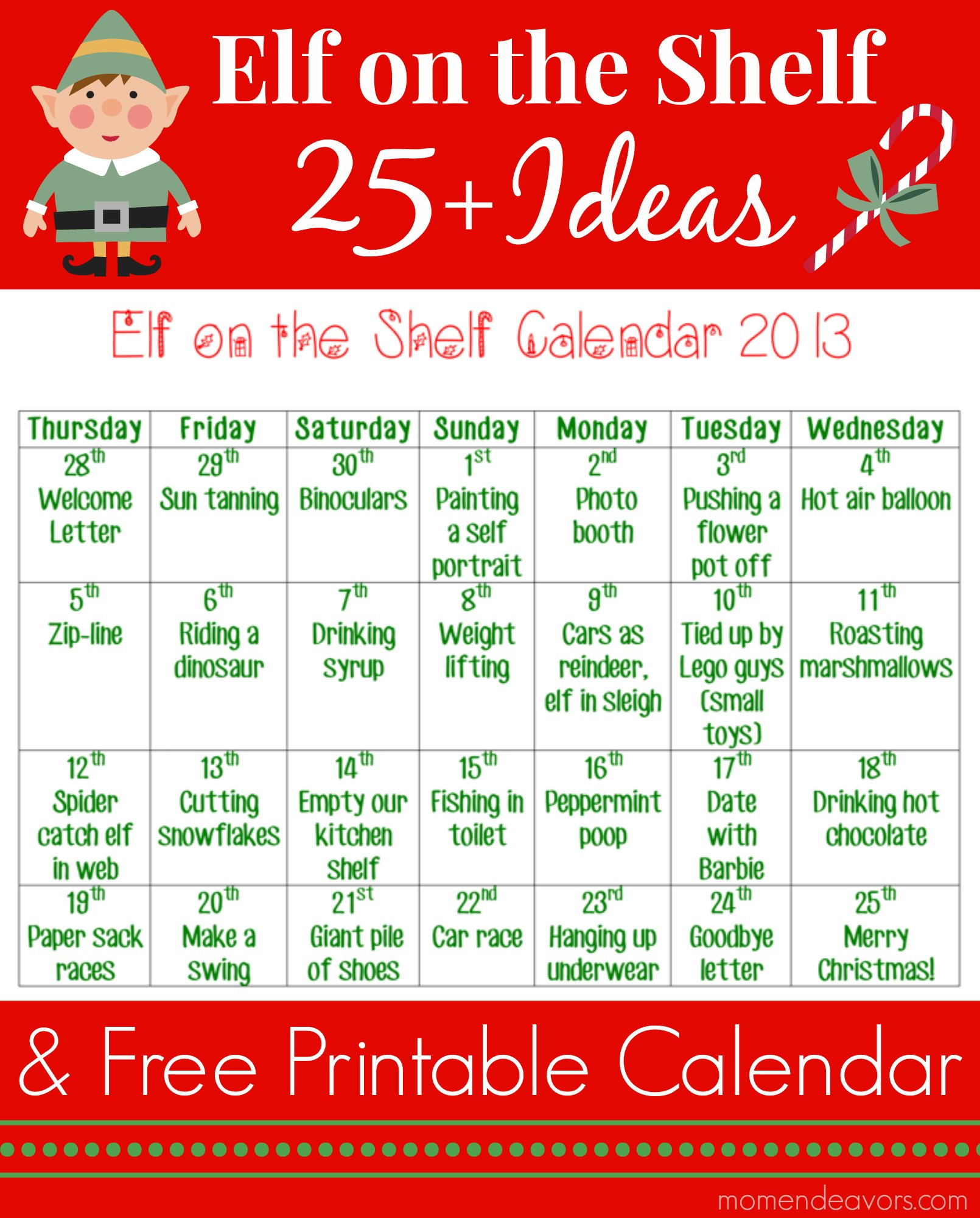 Elf on the Shelf Ideas & printable calendar