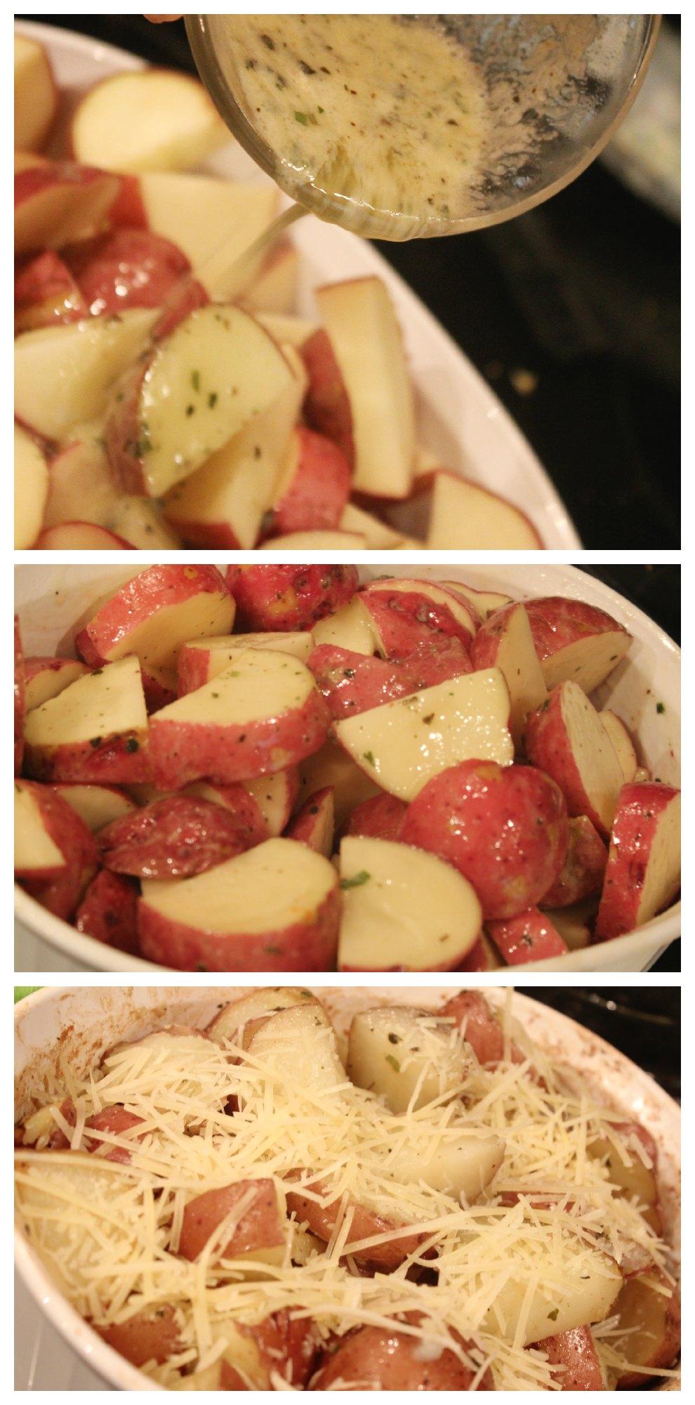 Making Parmesan Roasted Garlic & Herb Potatoes