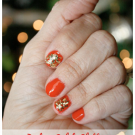 Red & Gold Glitter Holiday Manicure