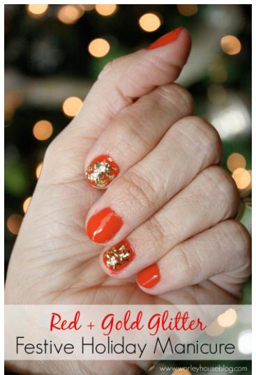 Red & Gold Glitter Manicure