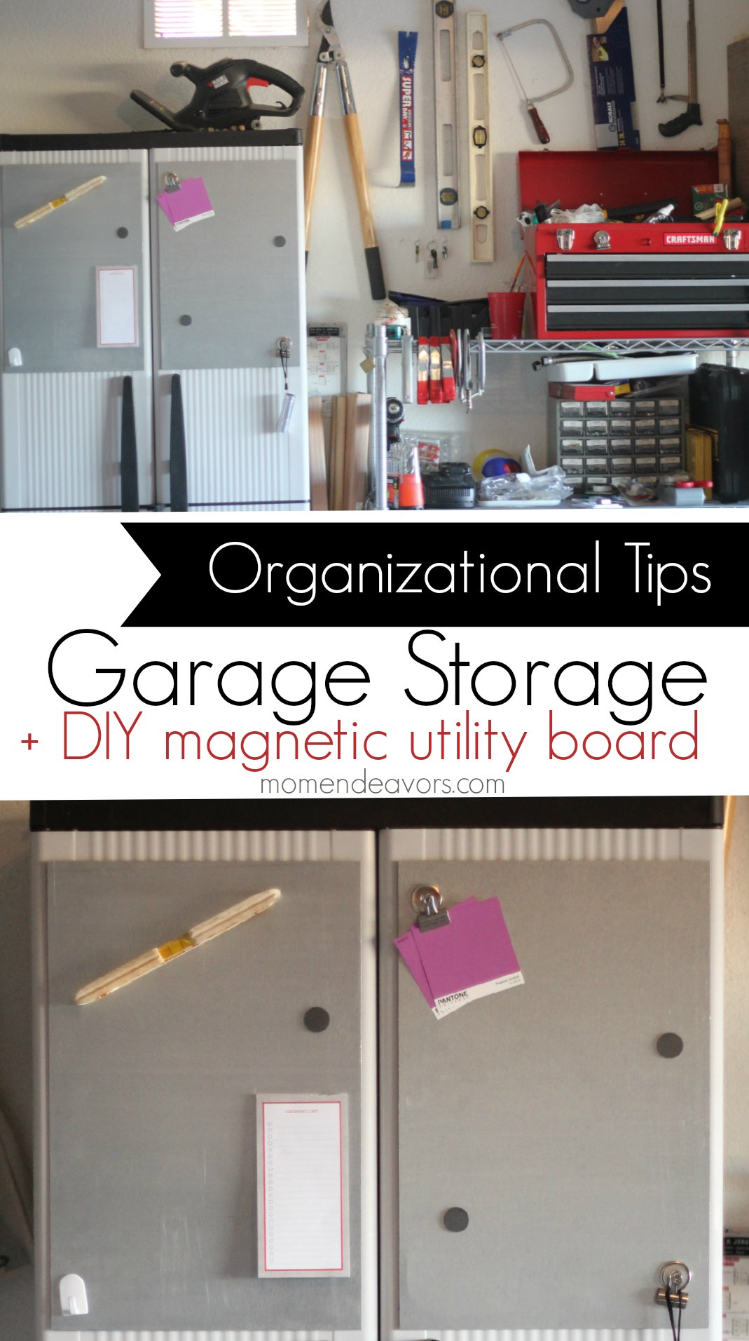 Home Organization: Garage Storage Ideas + DIY Magnetic Utility Board