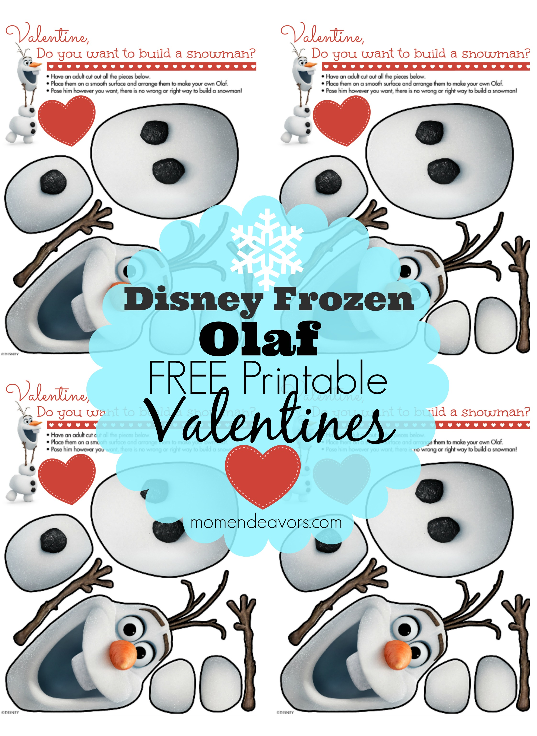 Disney FROZEN Free Printable Olaf Valentines – Free Downloadable Valentine Cards