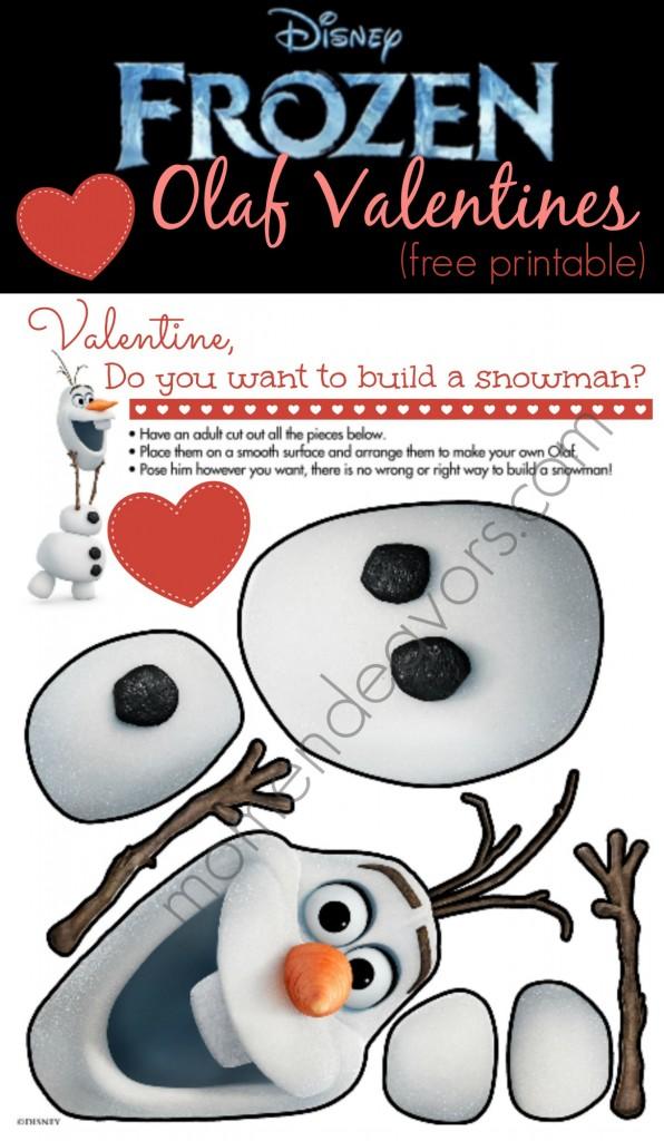 Disney Frozen Olaf Valentine's Cards