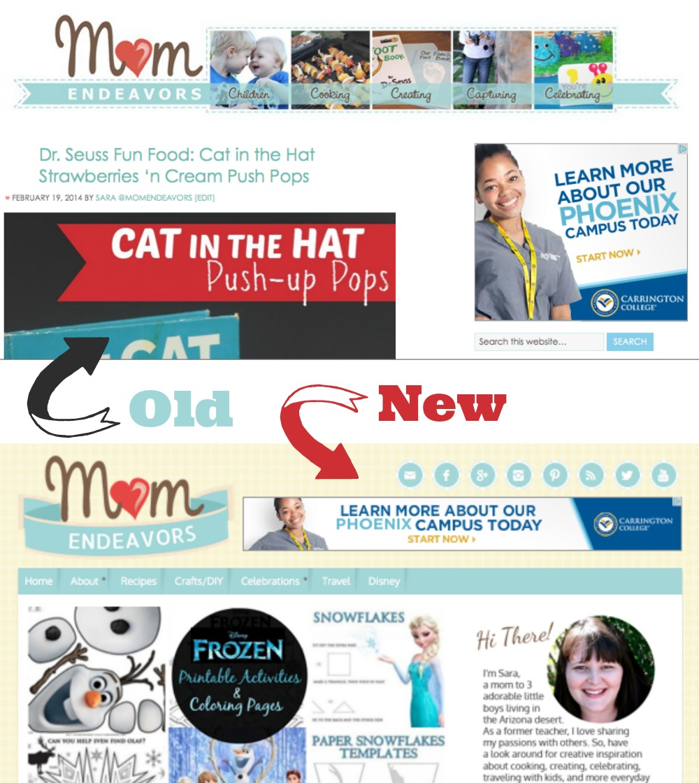 Mom Endeavors Site Makeover