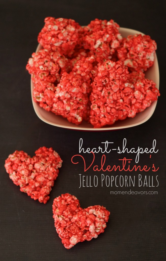 heart-shaped Valentine's Jello Popcorn Balls