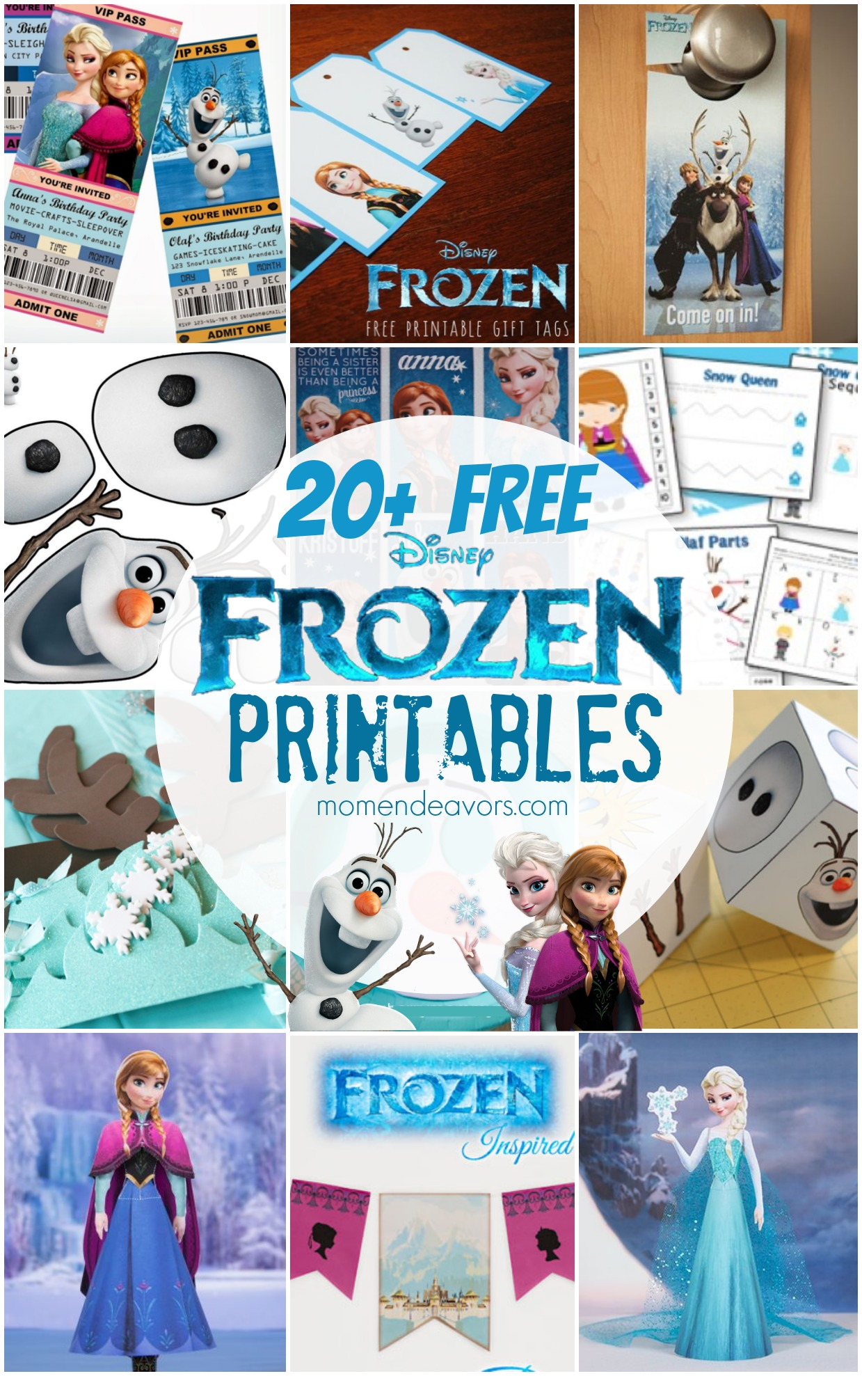 20 FREE Disney FROZEN Printables Activity Sheets Party Decor