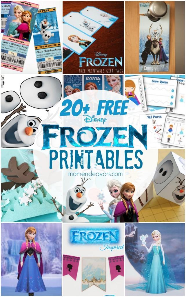 20 FREE Disney FROZEN Printables Activity Sheets Party Decor