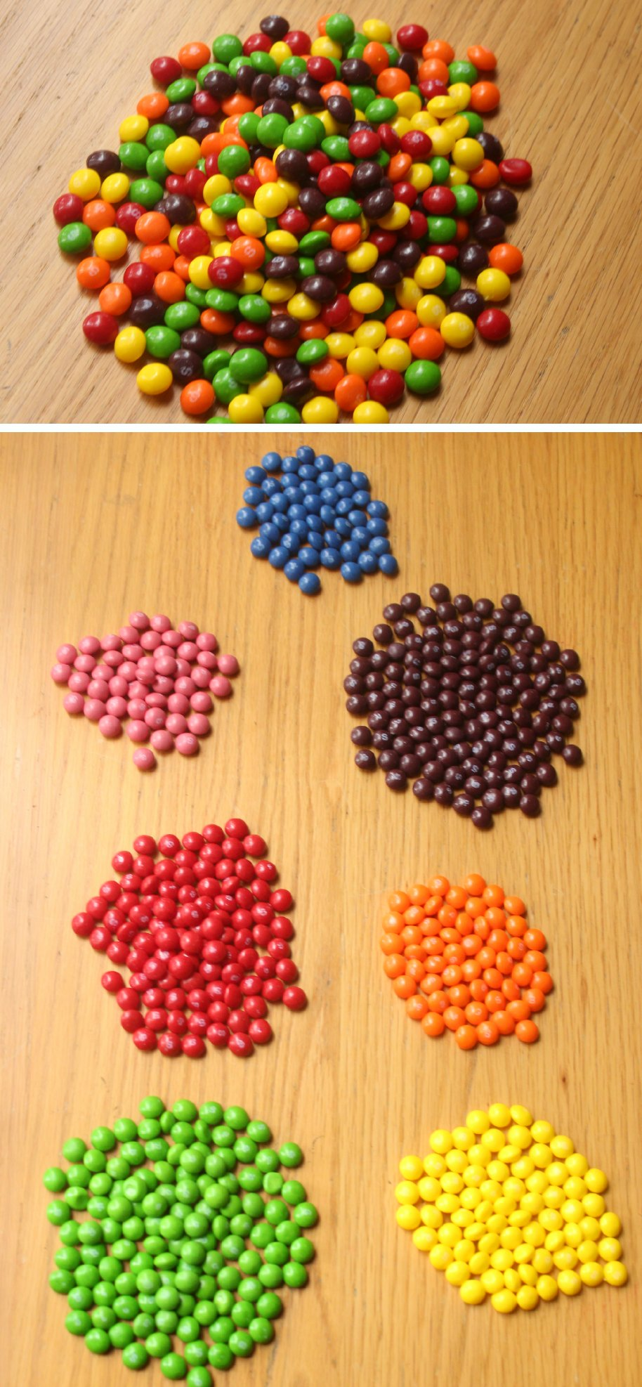 Color sorting candies