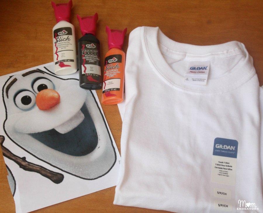 DIY Olaf Shirt Supplies