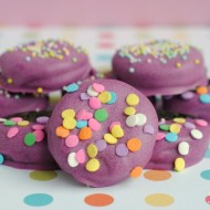 Purple Chocolate Dipped Party Oreos