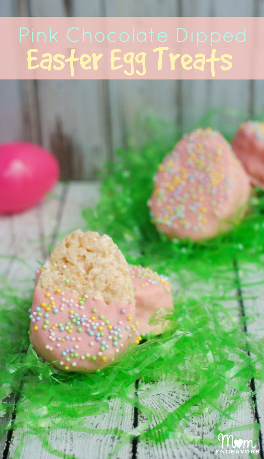 Pink Chocolate Dipped Easter Egg Rice Krispies Treats