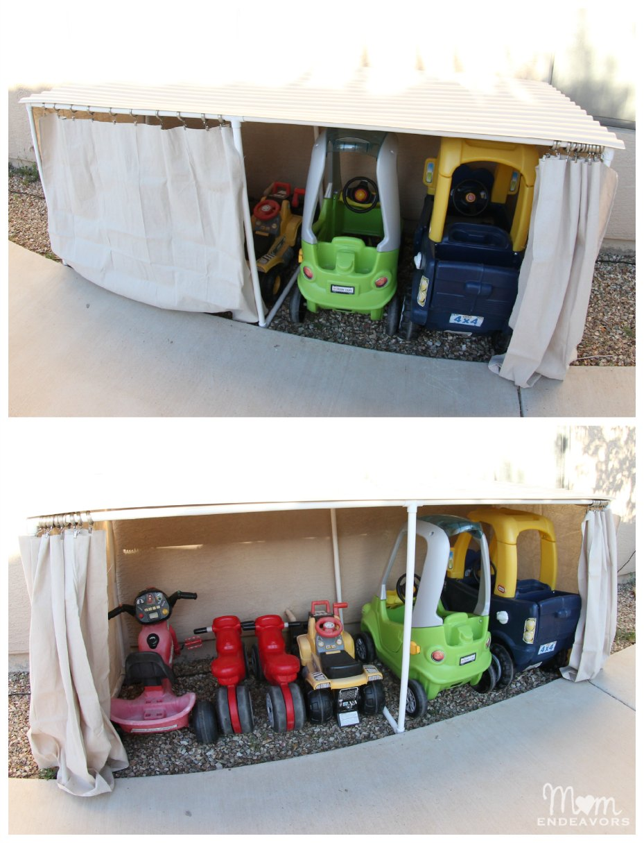 Covered Kiddie Car Parking Garage Outdoor Toy Organization Mom Endeavors