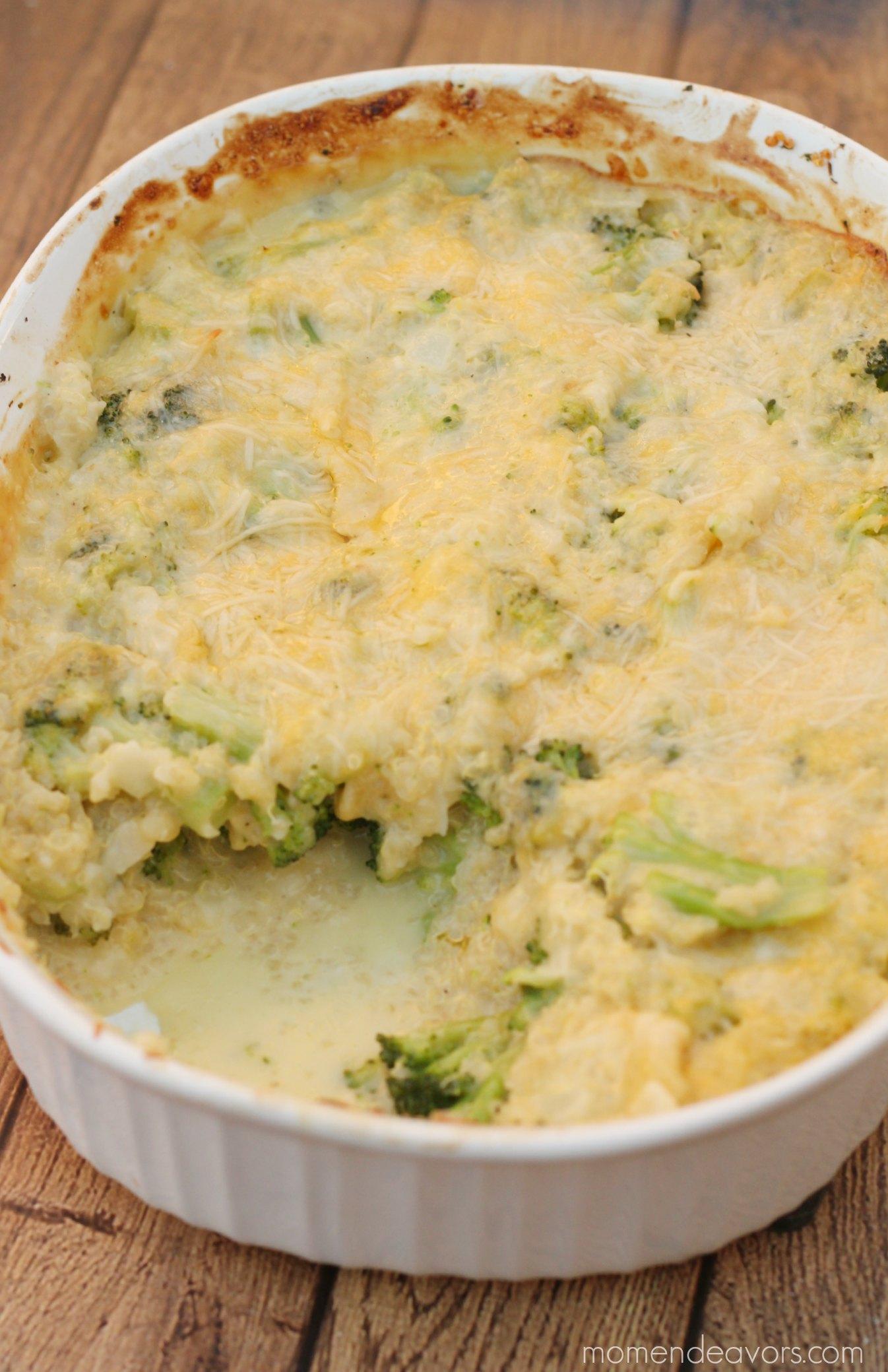 Broccoli Cheese Quinoa Casserole