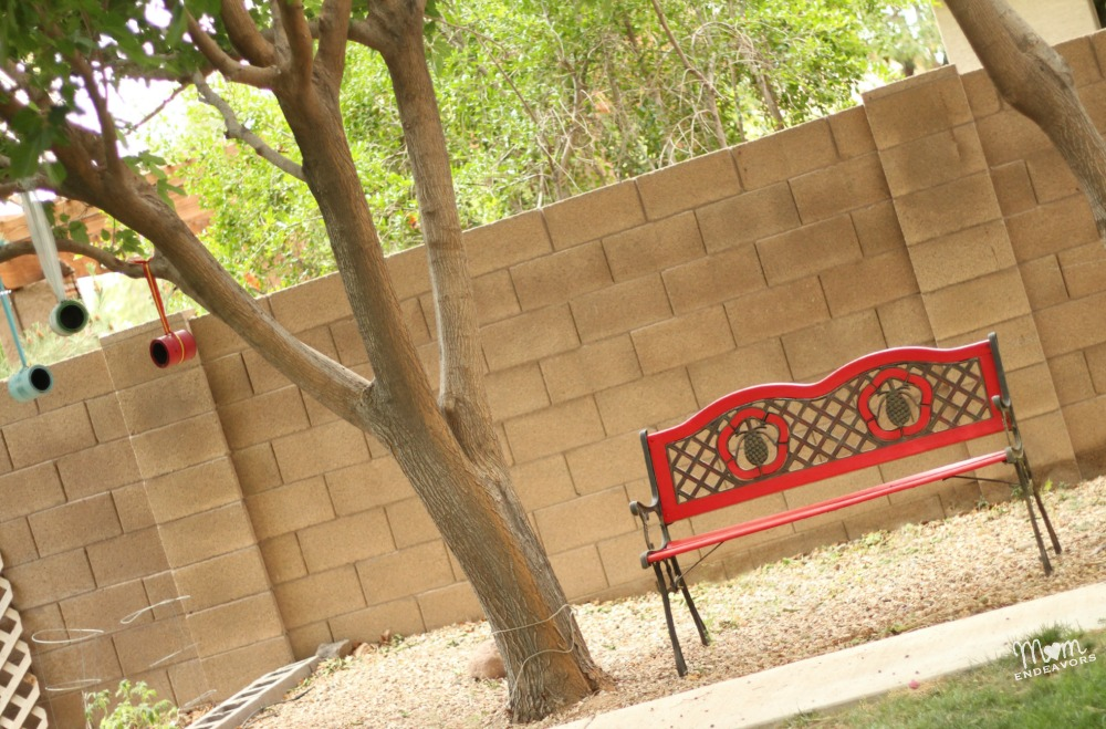 Colorful backyard bench