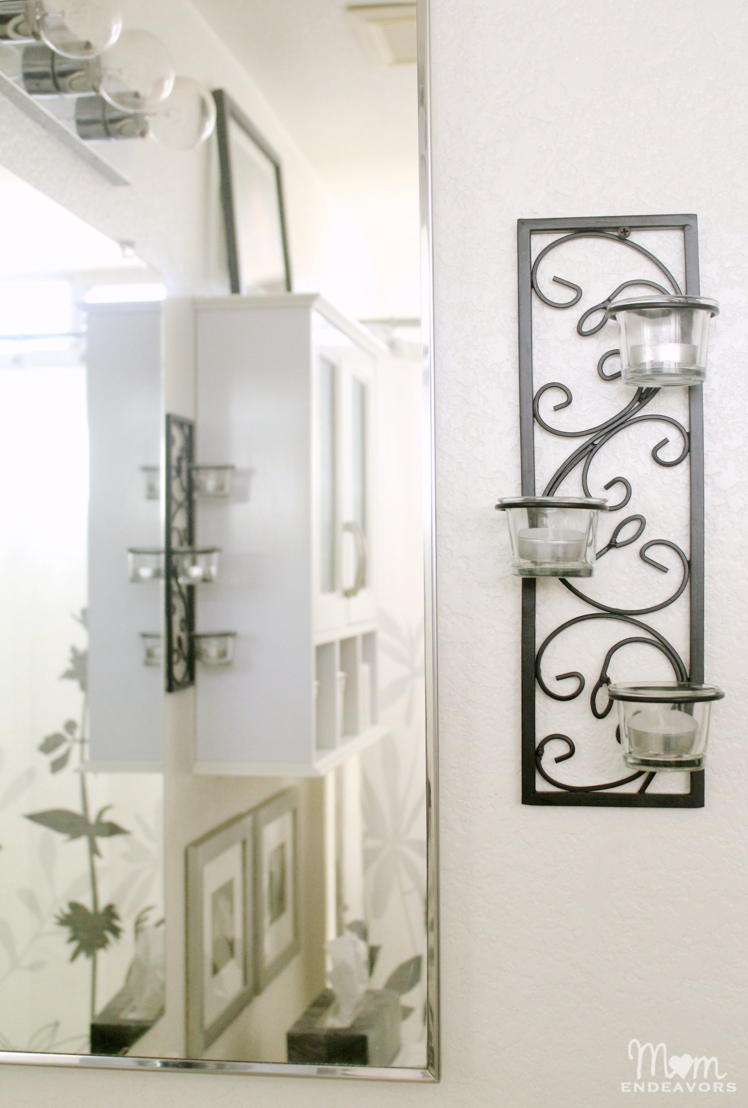Candle Wall Sconces For Bathroom : Guest Bathroom Makeover #BHGRefresh