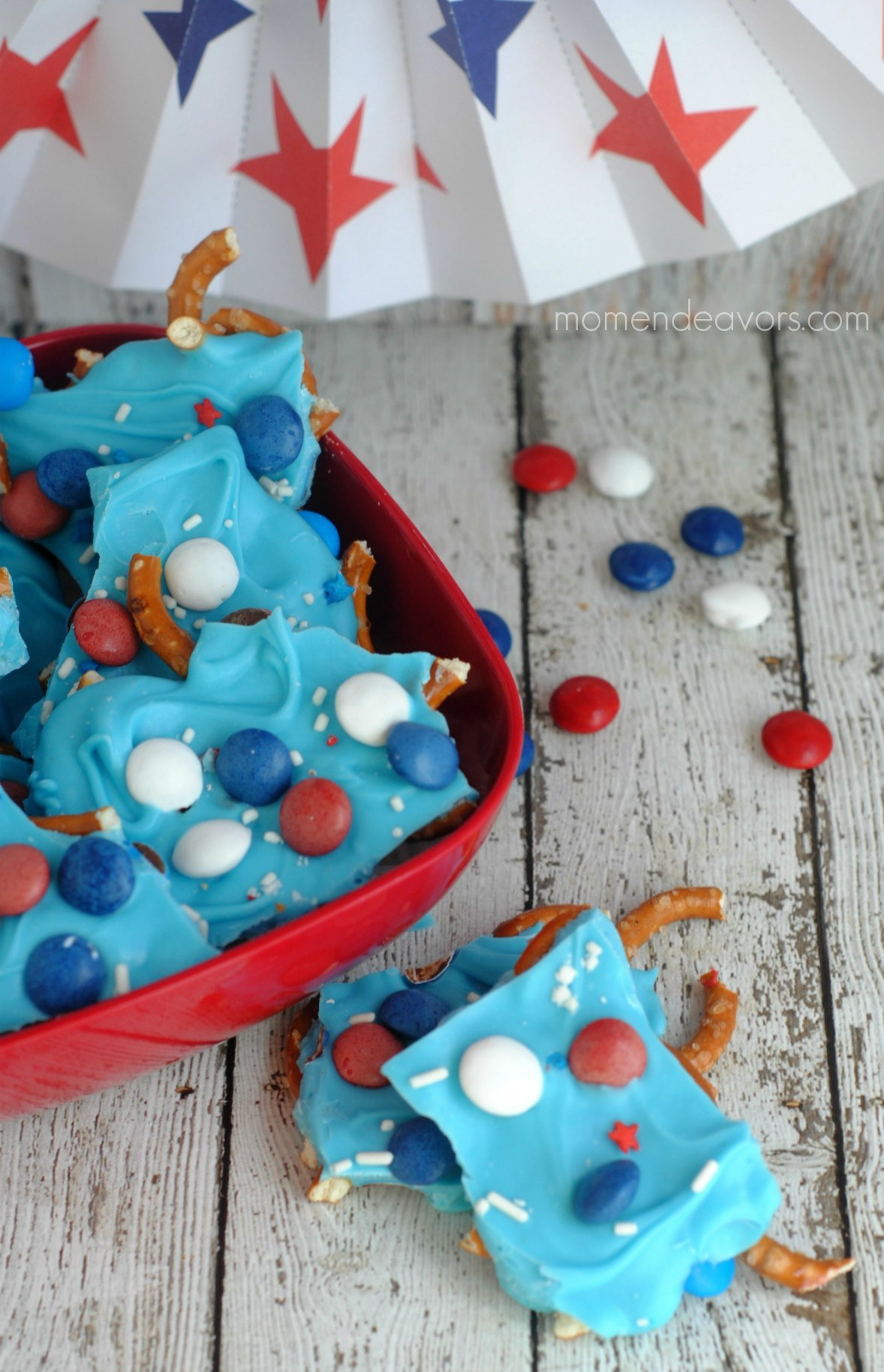 Red, White & Blue Pretzel Bark