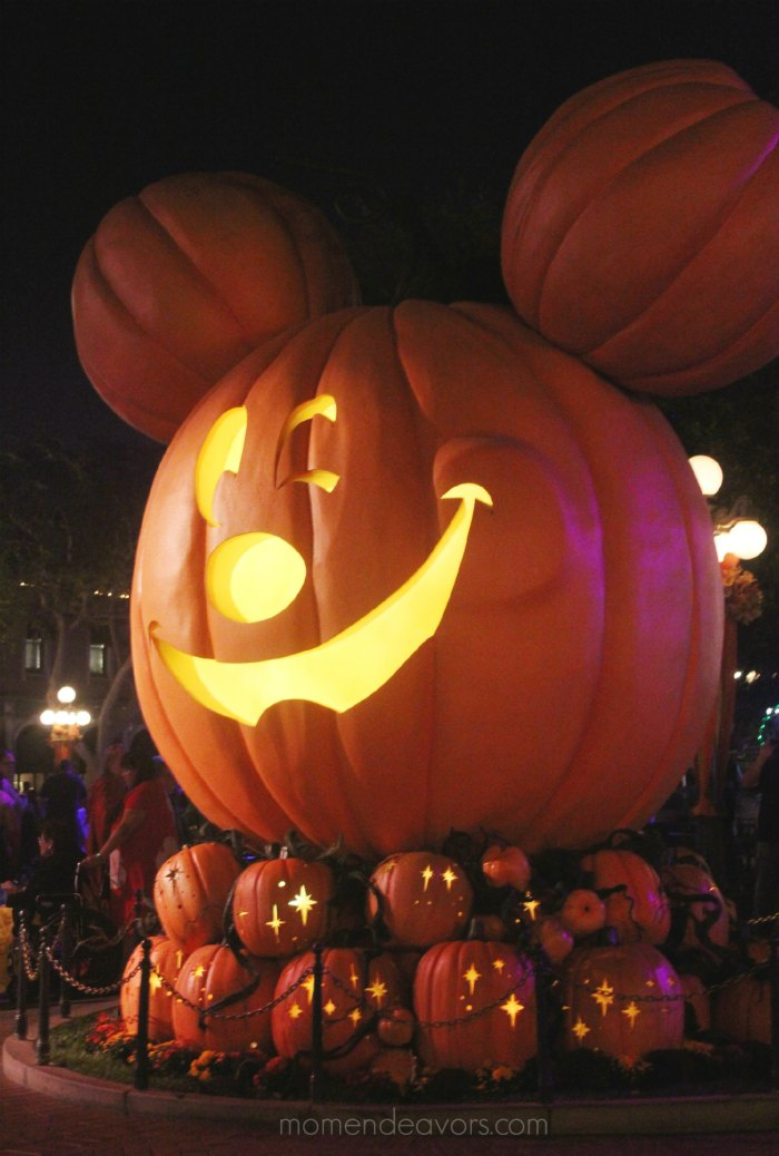 Large Disneyland Mickey pumpkin at night