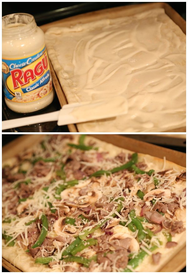 Ragu Cheesesteak Alfredo Pizza