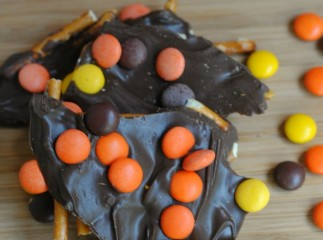 Reeses Pieces Chocolate Pretzel Bark