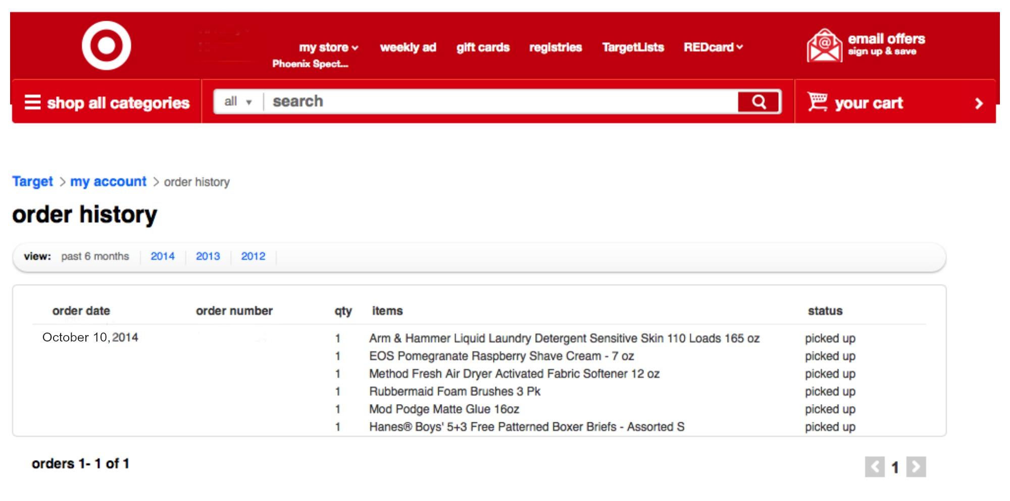 Order resume online target