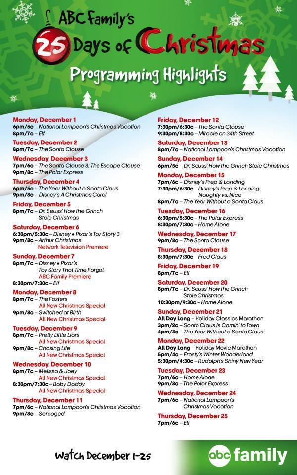 family channel television 25 days of christmas