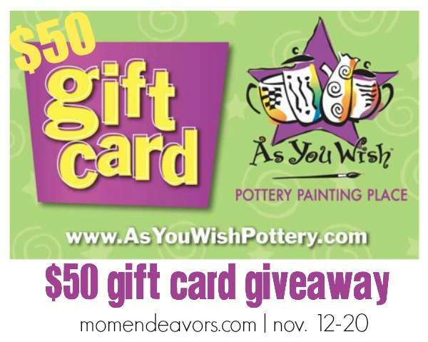 As You Wish Pottery Gift Card Giveaway