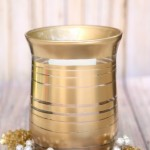 DIY Painted Striped Gold Metallic Vase