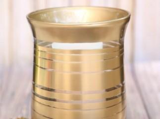 DIY Painted Striped Gold Metallic Vase