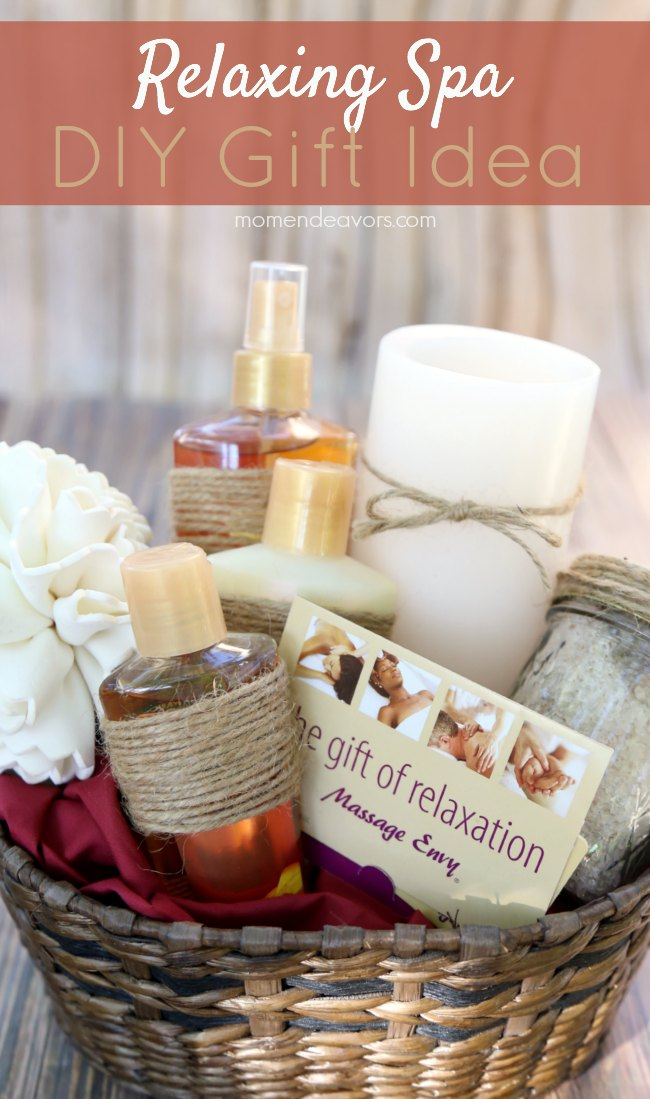 Diy relaxing spa gift idea for Homemade christmas gift baskets for couples