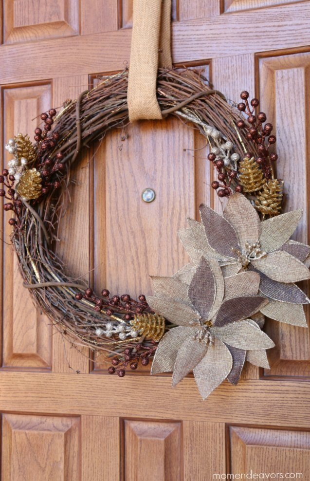 Rustic Poinsettia Holiday Wreath