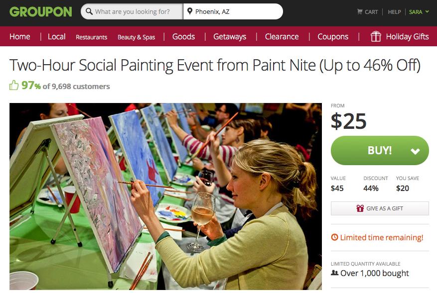 Groupon coupon paint nite