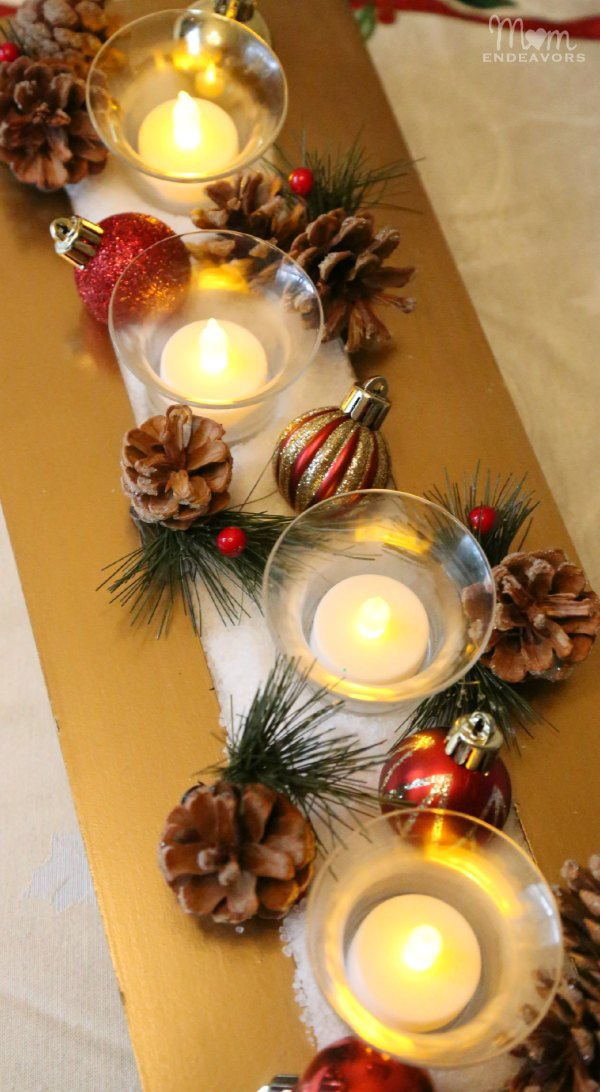 Upcycled Christmas Candle Centerpiece