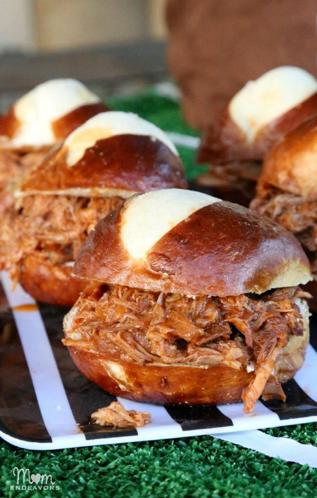 Slow Cooker Pulled Pork Pretzel BunSliders