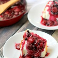 Homemade Angel Food Cake with Warm Berry Compote Recipe