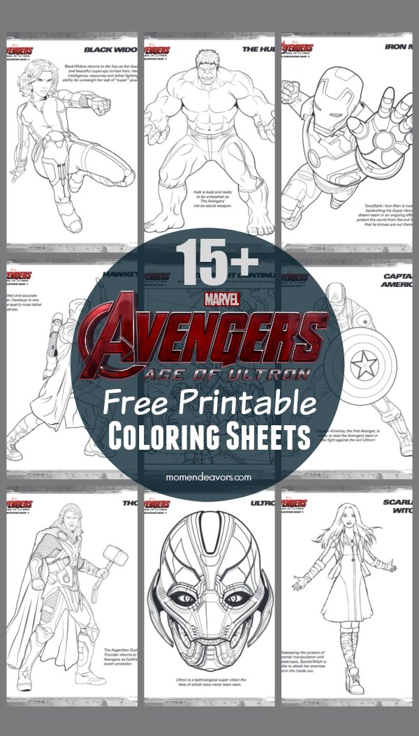avengers age of ultron free printable superhero coloring sheets - Free Printable Coloring Pages Avengers
