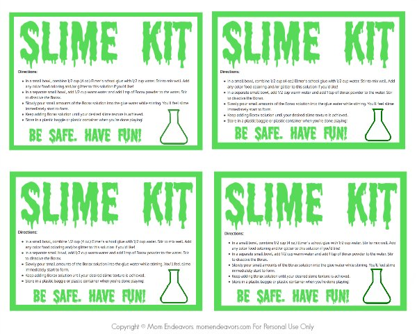 Slime Kit Printable Labels