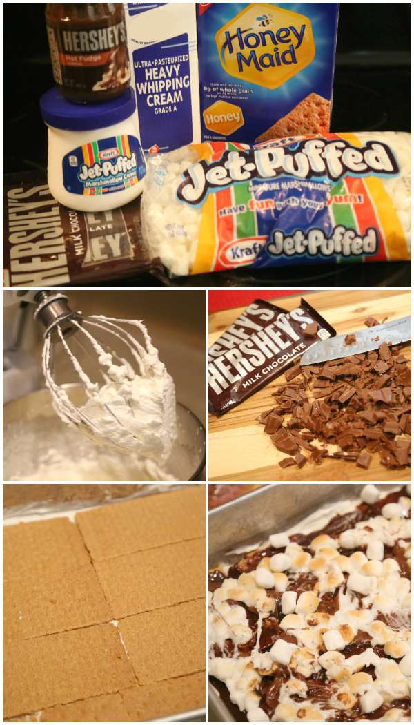 Making s'mores ice box cake