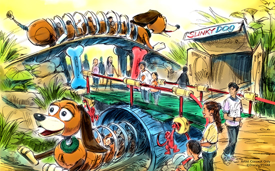Toy Story Land Slinky Rollercoaster Concept Art