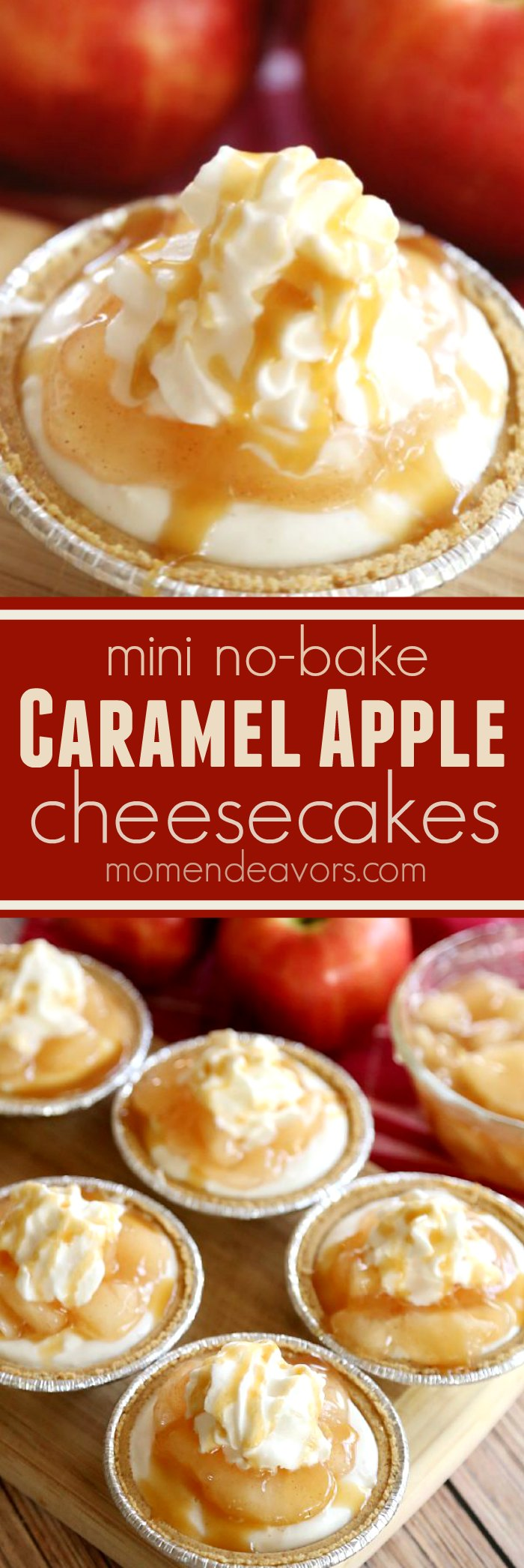 Mini Caramel Apple No-Bake Cheesecakes