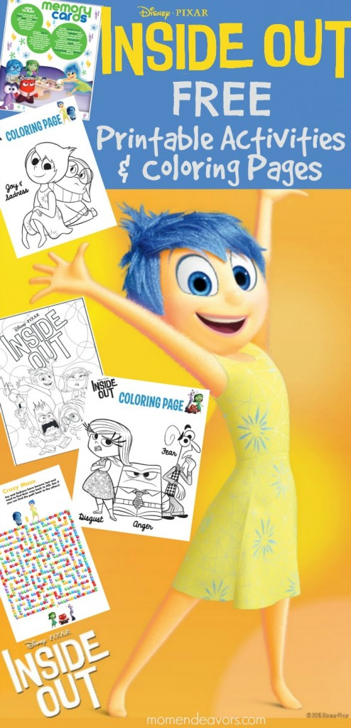 Free Printable Yellow Coloring Pages : Disney pixar inside out printable activities & coloring pages
