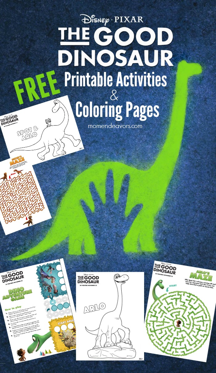 Disney-Pixar's The Good Dinosaur Printable Activity Sheets & Coloring Pages