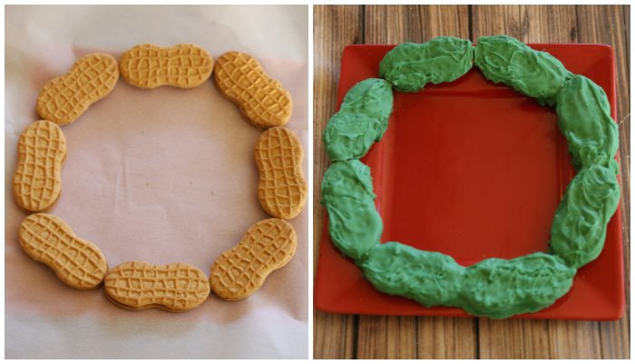 Making a holiday cookie wreath