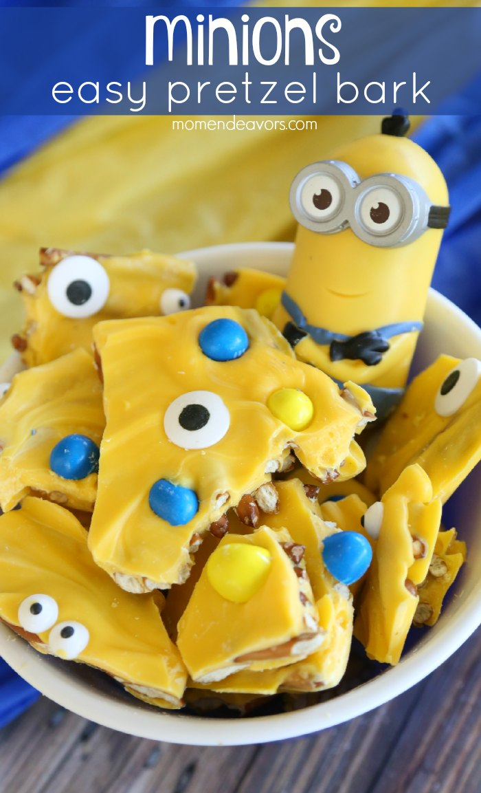 Minions Easy Pretzel Bark