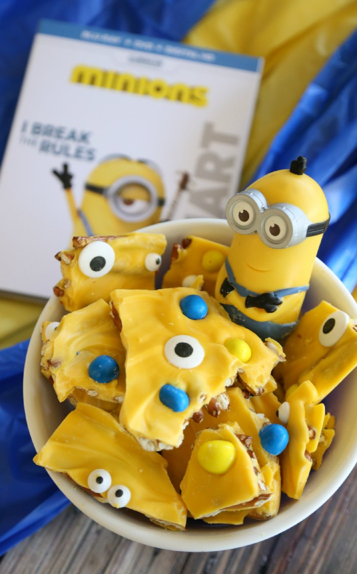Minions Movie Night Pretzel Bark